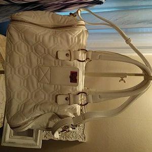 Big Buddha white leather bag
